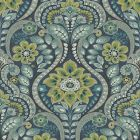 2763-12101 Night Bloom Navy Damask Brewster Wallpaper