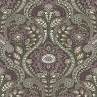 2763-12104 Night Bloom Charcoal Damask Brewster Wallpaper