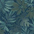 2763 24201 Nocturnum Blue Leaf Brewster Wallpaper
