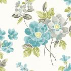 2656 004023 Claressa Teal Floral Brewster Wallpaper