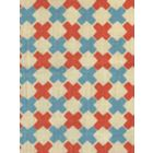 4120-12 DOUBLE CROSS New Shrimp with New Blue Quadrille Fabric