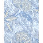 4060M-02WP FLORES II French Blue Cream On White Quadrille Wallpaper