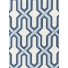 6300-CUST3 GORRIVAN FRETWORK Navy Periwinkle on White Custom Only Quadrille Fabric