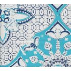 6430-03WSUN NEW BATIK Turquoise New Navy on White  Quadrille Fabric