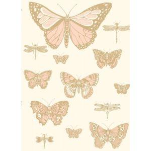 103/15066-CS BUTTERFLIES & DRAGONFLIES Pink On Ivory Cole & Son Wallpaper