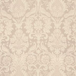 Schumacher Anna Damask Greige Fabric