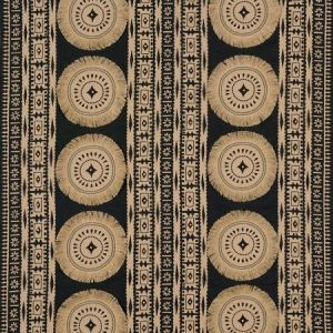 Schumacher Bora Bora Print Embellished Lava Black Fabric