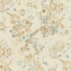 Lee Jofa Garden Roses Beige Aqua Fabric