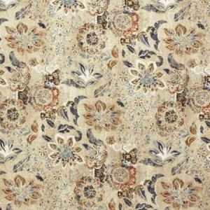 Lee Jofa Woodcut Indigo Coral Fabric