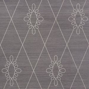 5009272 Sylvie Embroidered Sisal Charcoal Schumacher Wallpaper