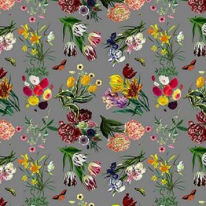 WNM 0005FLOR FLORA & FAUNA Gray Scalamandre Wallpaper