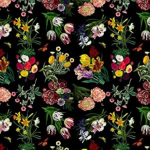 WNM 0006FLOR FLORA & FAUNA Black Scalamandre Wallpaper