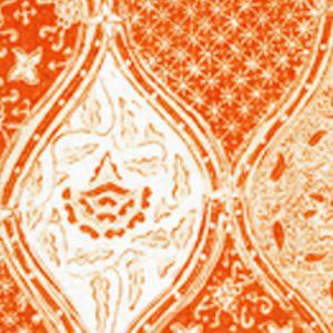 6630CU-04 BALINESE BATIK Orange Cream on White Quadrille Fabric