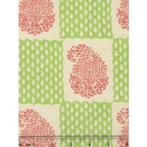 5090-07 BANGALORE New Shrimp Grass Green on Tint Quadrille Fabric