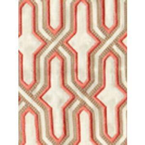 6300EM-20 GORRIVAN FRETWORK Salmon Taupe Custom Only Quadrille Fabric
