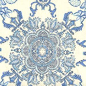 HC1980W-01AWP ISFAHAN Multi Celeste Blue Teal On Almost White Quadrille Wallpaper