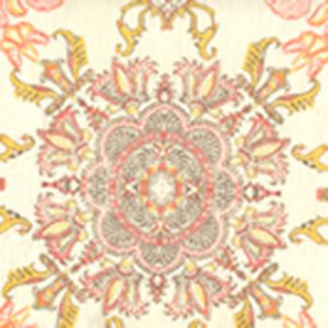 HC1980W-02AWP ISFAHAN Multi Melon Gold Brown On Almost White Quadrille Wallpaper