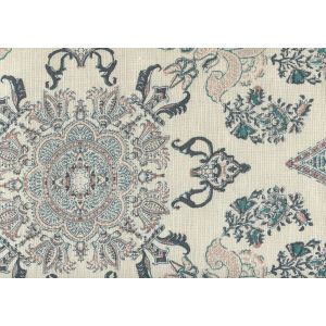 HC1980C-04 ISFAHAN Multi Blues Pink Gold on Cream Quadrille Fabric