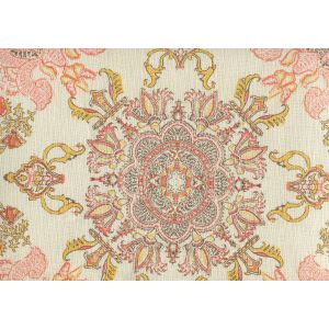 HC1980C-02 ISFAHAN Multi Melon Gold Brown on Cream Quadrille Fabric