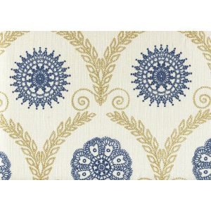 HC1310-07 JEANNE ALL OVER Gold Metallic Navy Quadrille Fabric