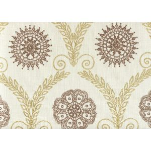 HC1310-06 JEANNE ALL OVER Gold Metallic Tobacco Quadrille Fabric