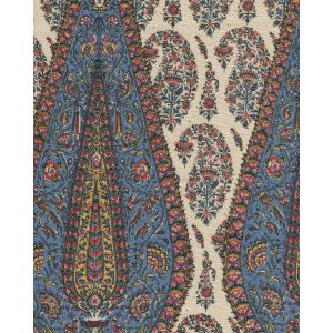 HC1950T-12 KASHMIR PAISLEY LARGE Red Navy Blue Gold on Tan Linen  Quadrille Fabric
