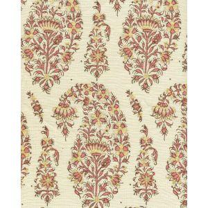 HC1955C-06 KASHMIR PAISLEY Pink on Cream Linen Quadrille Fabric