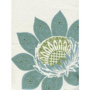 HC1260T-06W LORRAINE Turquoise Green on White Quadrille Fabric