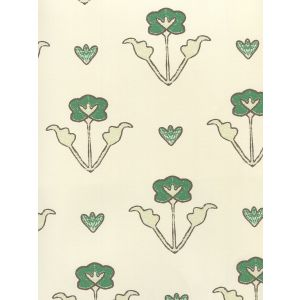 HC1995W-06OWP CLEMENTINE ALL OVER Green Brown On Off White Quadrille Wallpaper