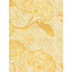 4060M-06WP FLORES II Inca Gold Cream On White Quadrille Wallpaper