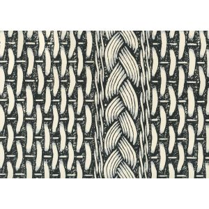 8400WP-01OW NEWPORT RATTAN Black Gray On Off White Quadrille Wallpaper