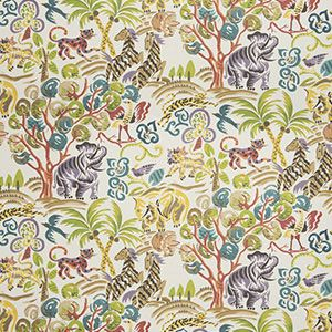9463001 TROPIC ANIMALS Rain Forest Fabricut Fabric