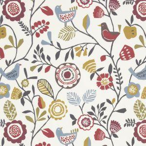 F0990-3 FOLKI Indigo Cranberry Clarke & Clarke Fabric