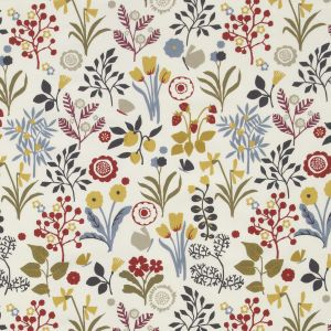 F0991-3 FRIDA Indigo Cranberry Clarke & Clarke Fabric