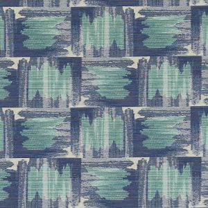 HU15851-41 IKAT PLAID Blue Turquoise Highland Court Fabric
