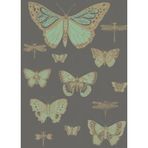 103/15067-CS BUTTERFLIES & DRAGONFLIES Green On Charcoal Cole & Son Wallpaper