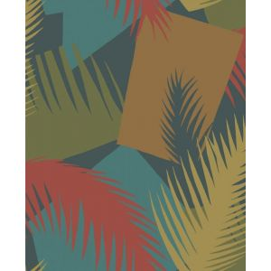 105/8039-CS DECO PALM Red And Blue Cole & Son Wallpaper