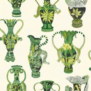 109/12056-CS KHULU VASES Green White Cole & Son Wallpaper
