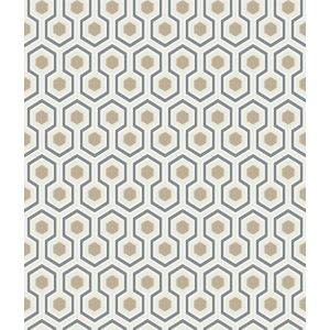 95/3016-CS HICKS HEXAGON Gilver Wt Bk Cole & Son Wallpaper