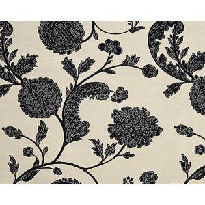 26849-002 BOMBAY LACE Black On Pewter Scalamandre Fabric