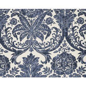 16557-003 LUCIANA DAMASK PRINT Denim Scalamandre Fabric