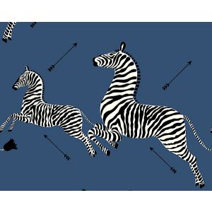 SC 0008WP81388M ZEBRAS Denim Scalamandre Wallpaper
