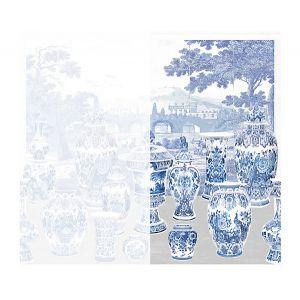 WNM 0001GSNR GARNITURE SCENIC No Tulips-Neutral Right Panel Scalamandre Wallpaper