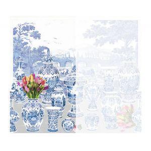 WNM 0001GSTL GARNITURE SCENIC Tulips-Neutral Left Panel Scalamandre Wallpaper