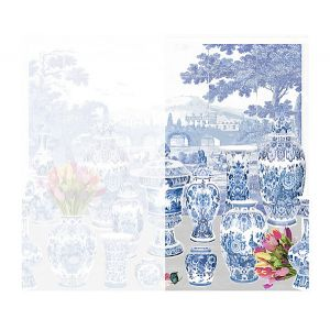 WNM 0001GSTR GARNITURE SCENIC Tulips-Neutral Right Panel Scalamandre Wallpaper