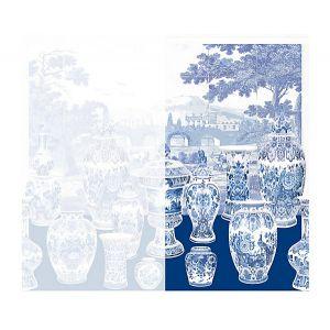WNM 0002GSNR GARNITURE SCENIC No Tulips-Blue Right Panel Scalamandre Wallpaper