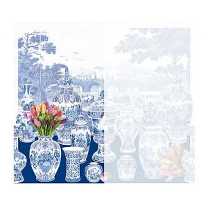 WNM 0002GSTL GARNITURE SCENIC Tulips-Blue Left Panel Scalamandre Wallpaper