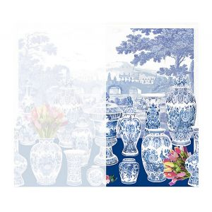 WNM 0002GSTR GARNITURE SCENIC Tulips-Blue Right Panel Scalamandre Wallpaper