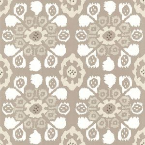 330235 Valencia Ikat Floral Taupe Brewster Wallpaper
