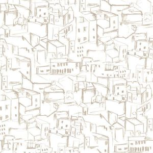 330226 Kasabian Hillside Village Sketch White Brewster Wallpaper